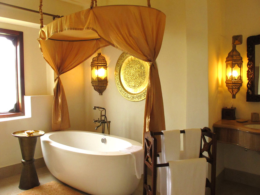 Our villa bathroom at Baraza Resort & Spa. Don't you love the egg-shaped bathtub!