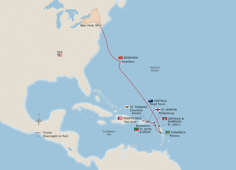 Our Caribbean islands cruise itinerary from New York to San Juan