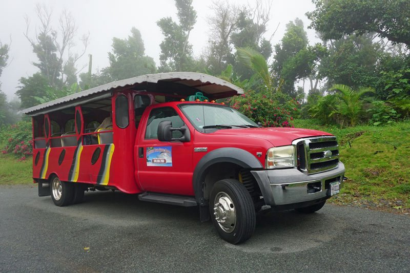 In St. Thomas, a scenic island tour in this safari-style minibus is one of the free shore excursions