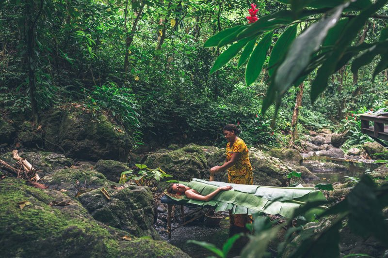 A banana leaf body wrap treatment at Koro Sun's Rainforest Spa