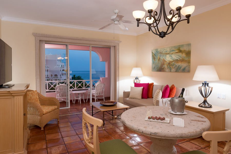 Living area of a Pueblo Bonito Rose suite