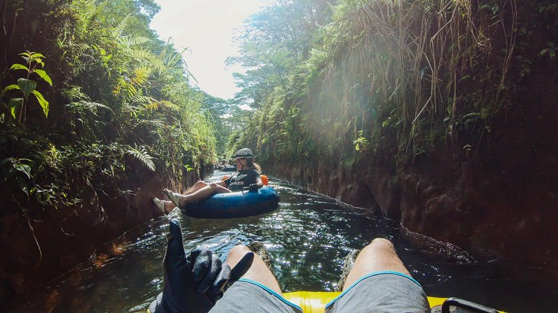 Let's float gently down the canal on this Kauai tubing adventure!