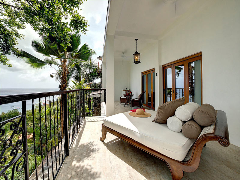Deck of the Billy Mitchell suite at Firefly, one of two hotels on Mustique