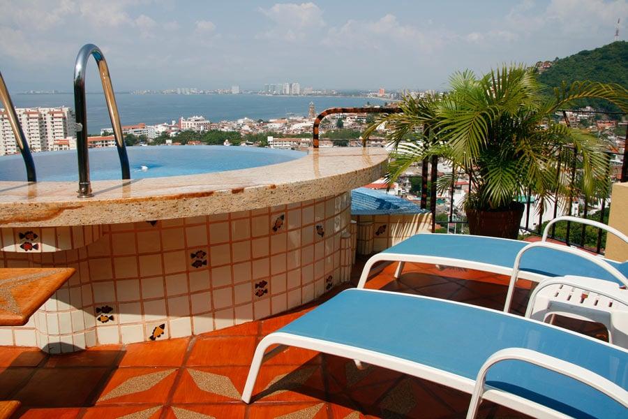 A small rooftop pool at Casa Isabel has great bird's eye views over Banderas Bay