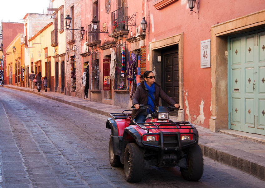 Many of the locals ride ATVs to get around the city of San Miguel de Allende.