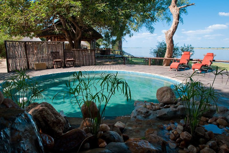 No roughing it here! There's even a pool overlooking the Zambezi River