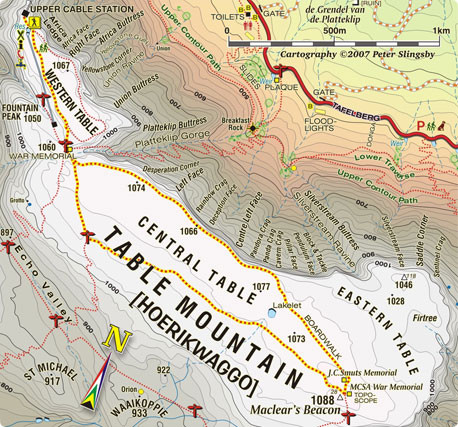 Table Mountain hiking map