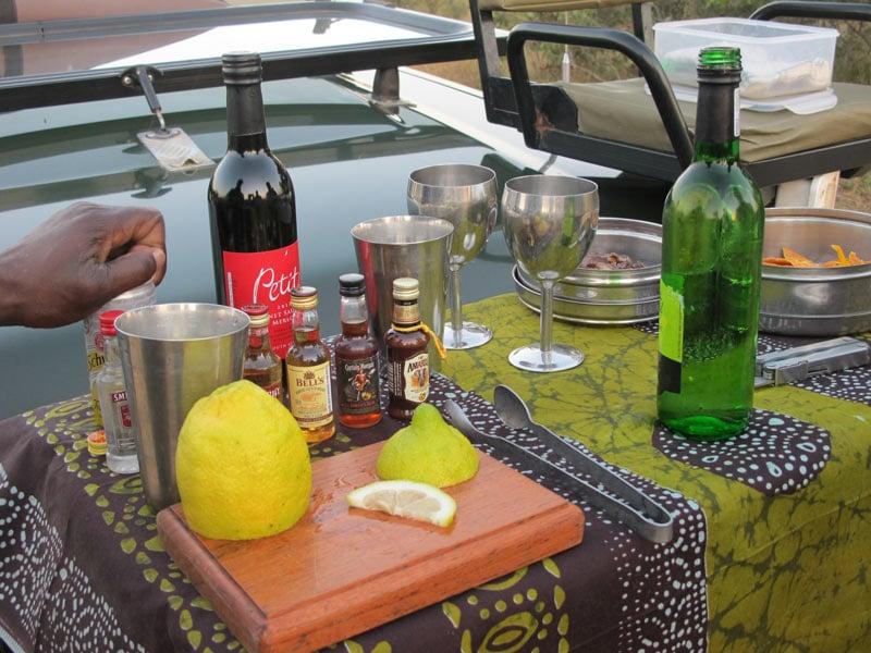 Making gin-and-tonics for sundowners