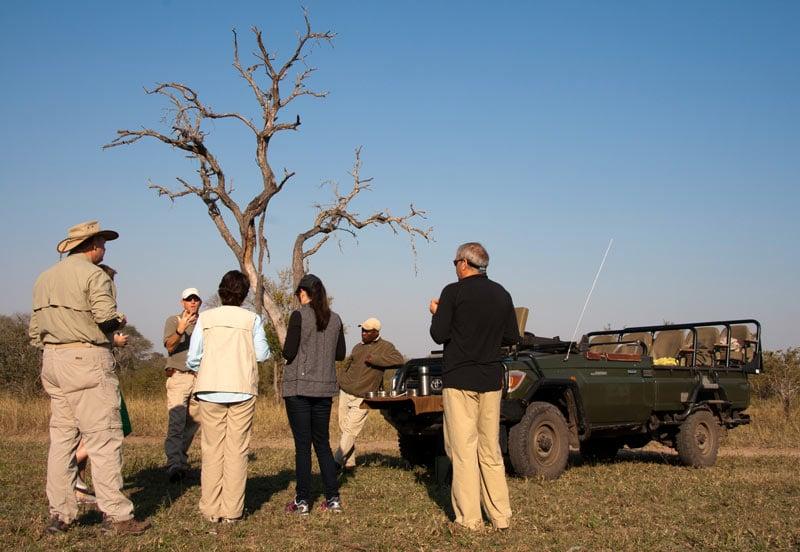 Enjoying sundowners in the bush on a Big 5 safari...