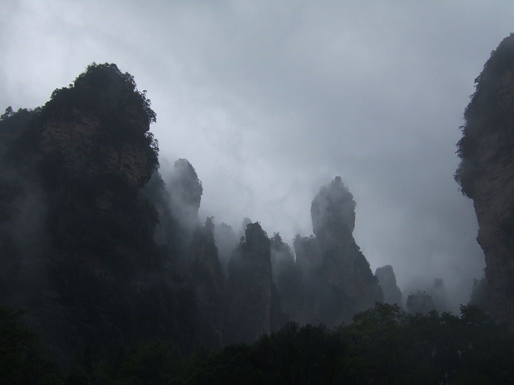 The Tianzi Mountains are blanketed in fog after it rains