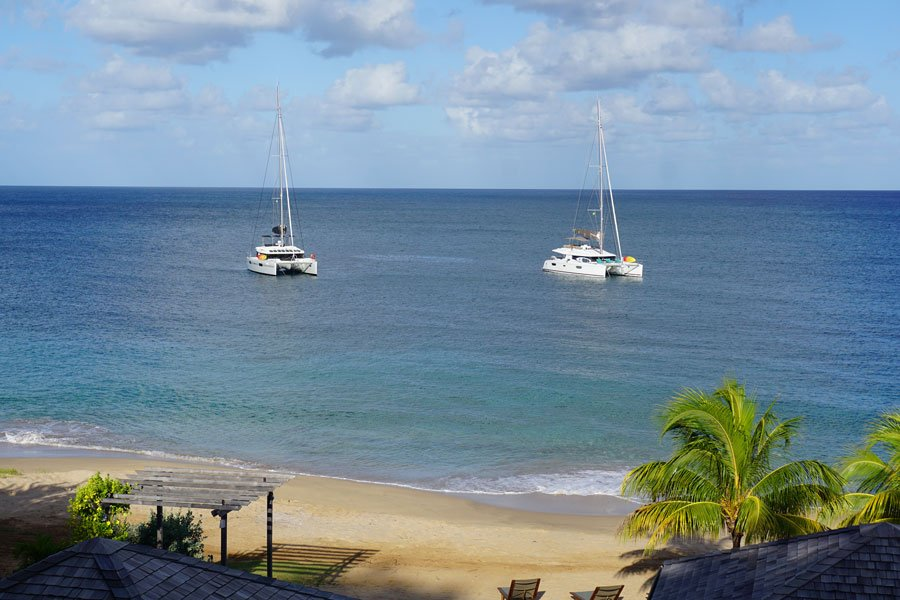 Two Tradewinds' catamarans anchored off Mayreau