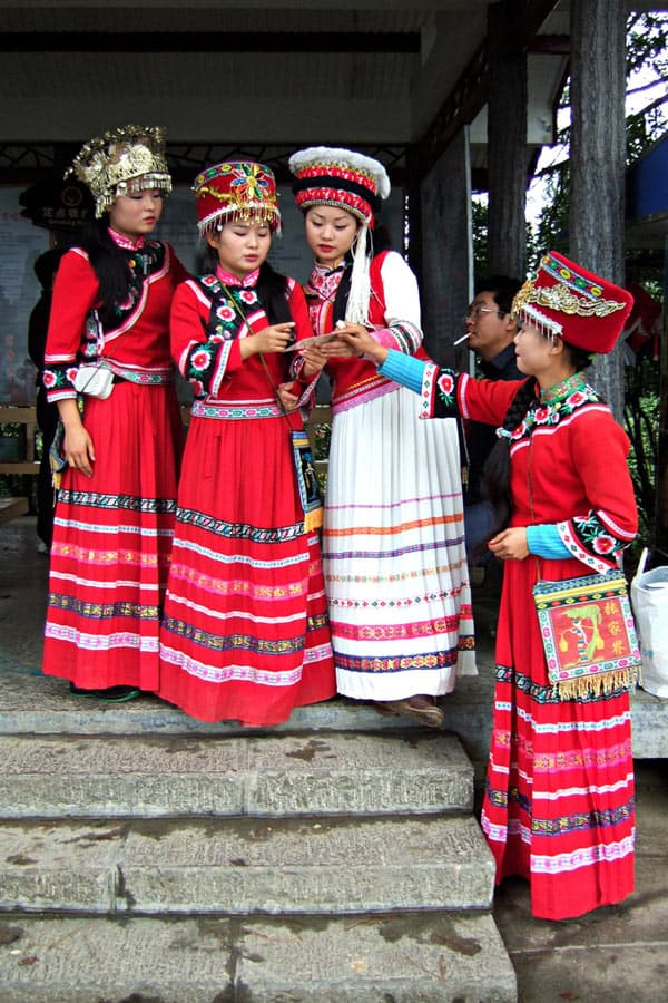 Tujia women (part of the Tujia ethnic group) in traditional dress in Zhangjiajie