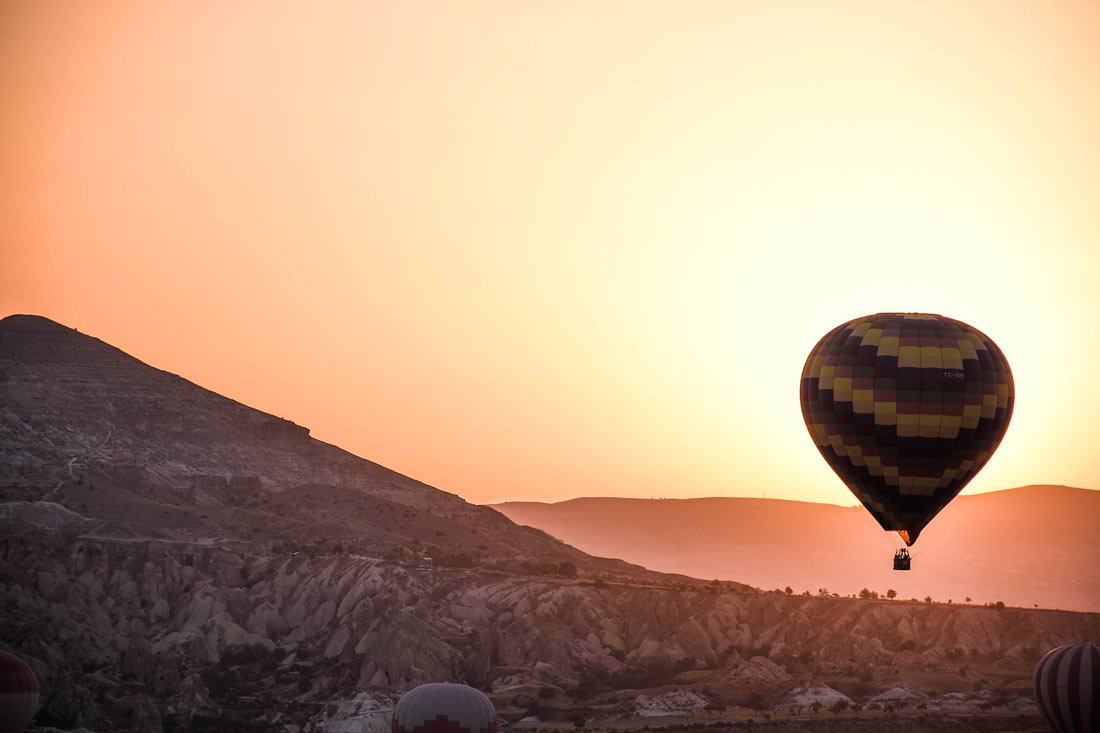 It's a beautiful clear day for our Cappadocia hot air balloon ride!