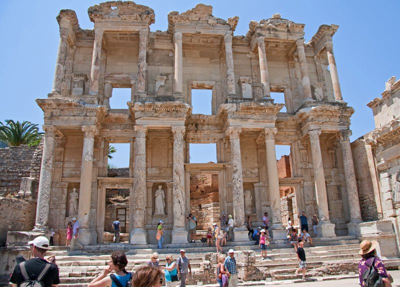 The Library of Celsus is the most famous of the Ephesus ruins
