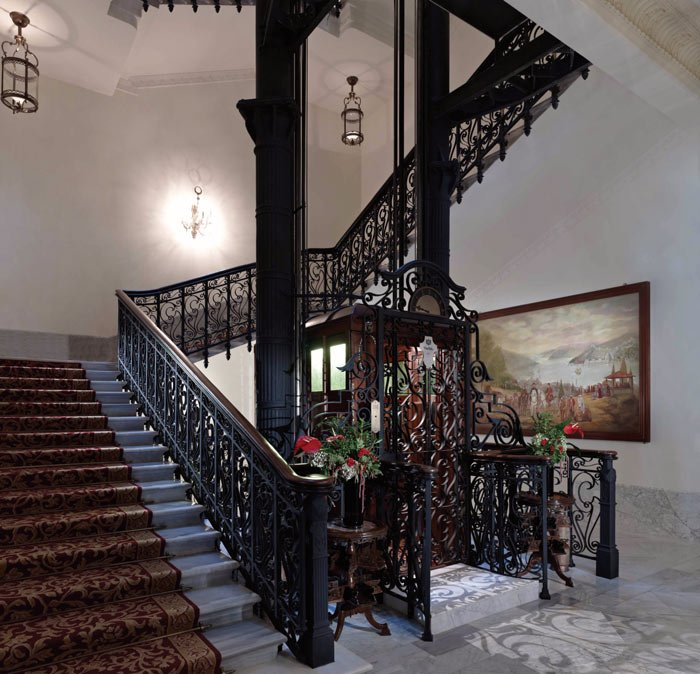 When checking in at the Pera Palace Hotel, you're taken up to your room in an  historic elevator.