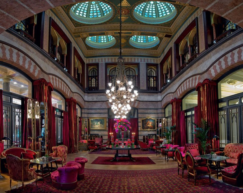 With high-domed ceilings and beautiful corner windows, the Kubbeli Lounge at Pera Palace Hotel, Istanbul, is a lovely spot for afternoon tea.