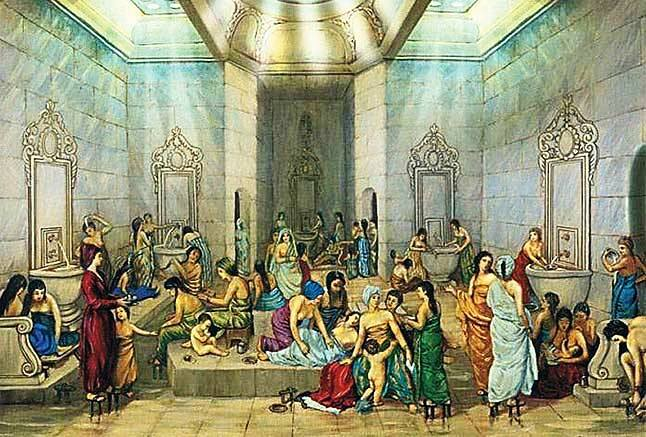 In Ottoman times, Turkish baths were used for socializing as well as spiritual and physical cleanliness.
