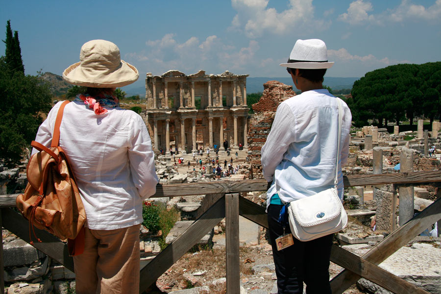 Gazing at the Library of Celsus, Ephesus