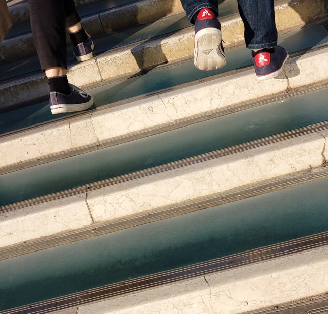 Glass steps on the Constitution Bridge