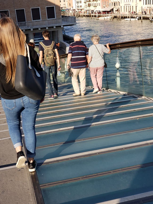 The glass steps on Venice's Constitution Bridge are somewhat disorienting