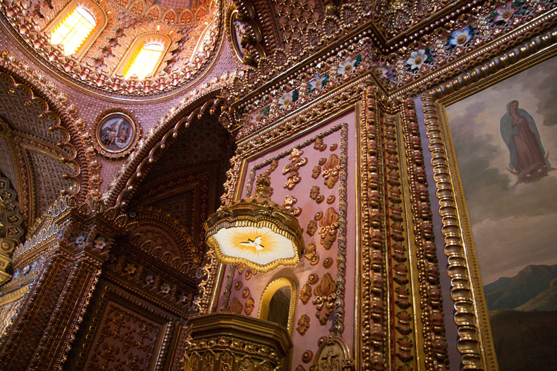 Inside Morelia's ornate Church of the Virgin of Guadalupe
