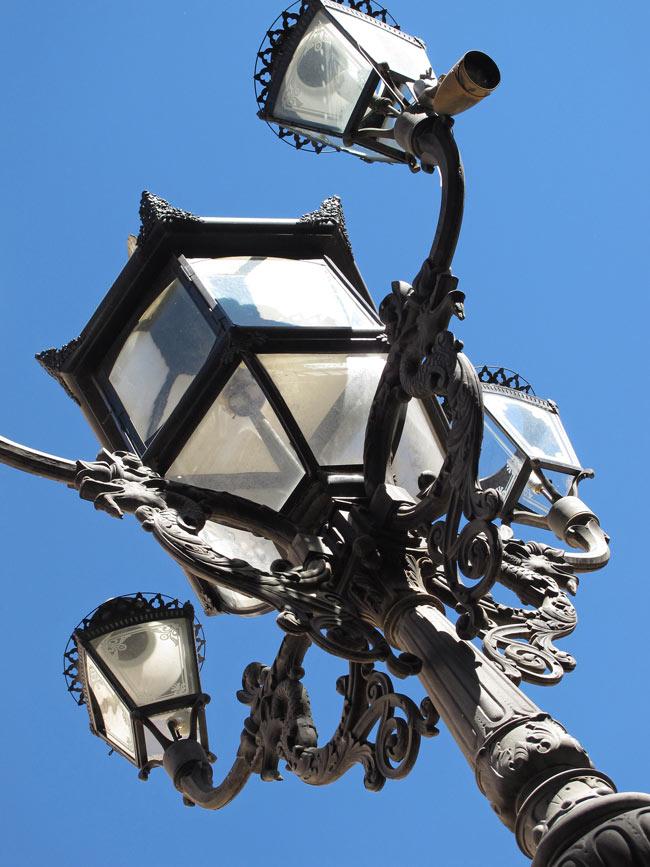 Victorian lamp posts decorate the Juarez Theater, Guanajuato.