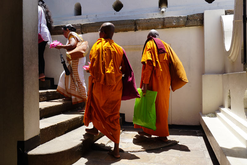 Monks at the Temple of the Sacred Tooth, Kandy