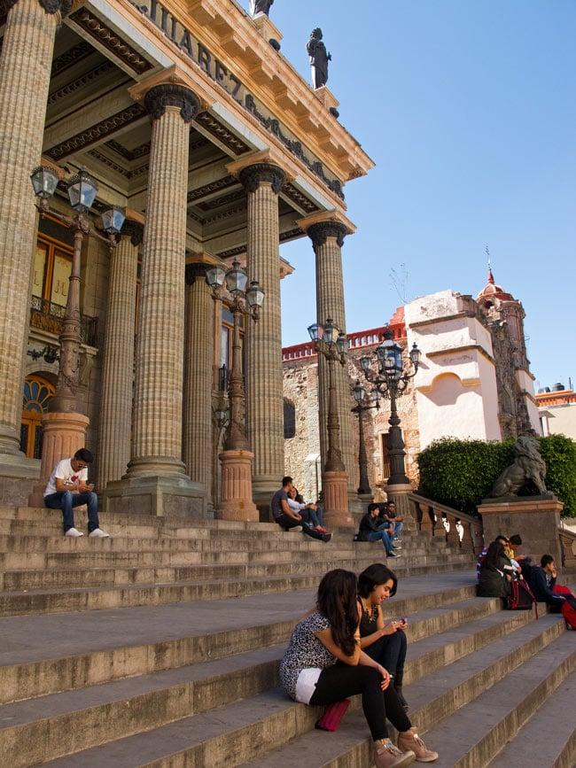 Sitting on the Juarez Theater steps...