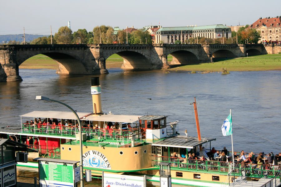 Historical steamboats offer sightseeing Elbe River tours from Dresden.