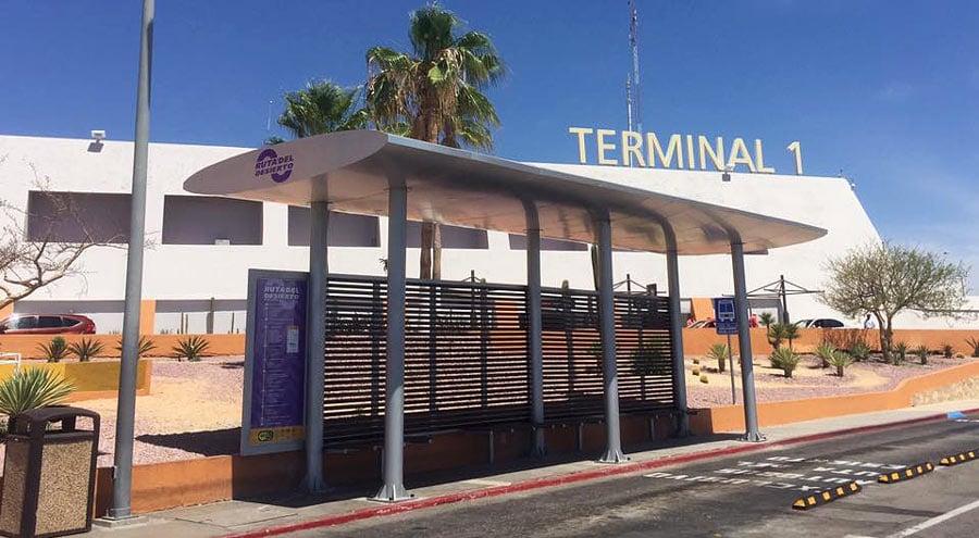 The Ruta del Desierto bus stop at Terminal 1 of the Los Cabos airport