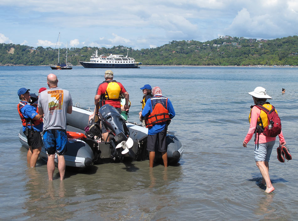 "On our UnCruise Costa Rica trip, we never docked, but took motorized skiffs (like Zodiacs) to get ashore (aka ""wet"" landings)."
