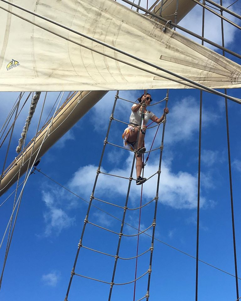 Up, up, up you go! Climbing the mast is unique to Star Clippers