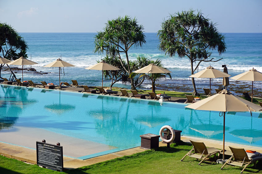 The infinity pool at the The Fortress Resort & Spa, Sri Lanka