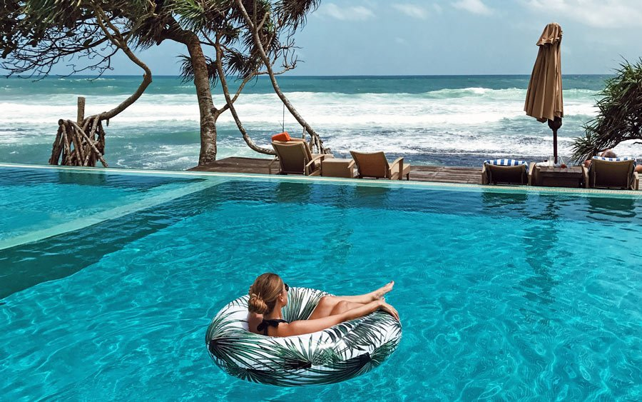 Shades of turquoise; Gazing at the Indian Ocean from the Fortress Resort and Spa's infinity pool