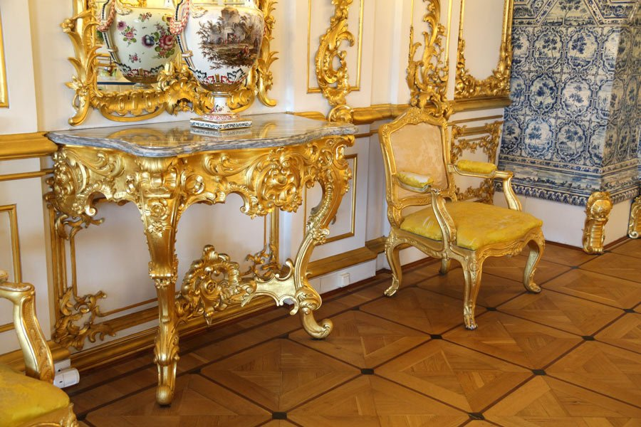Gilded furniture at Catherine Palace, St. Petersburg