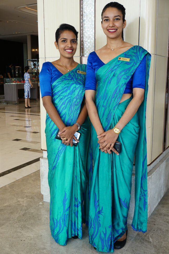 Lovely sari-gowned hostesses greet you when you enter the Shangri-La Colombo lobby.