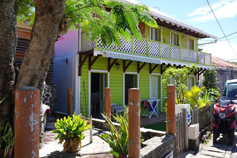 The houses on Ilse des Saintes are painted in bright colors