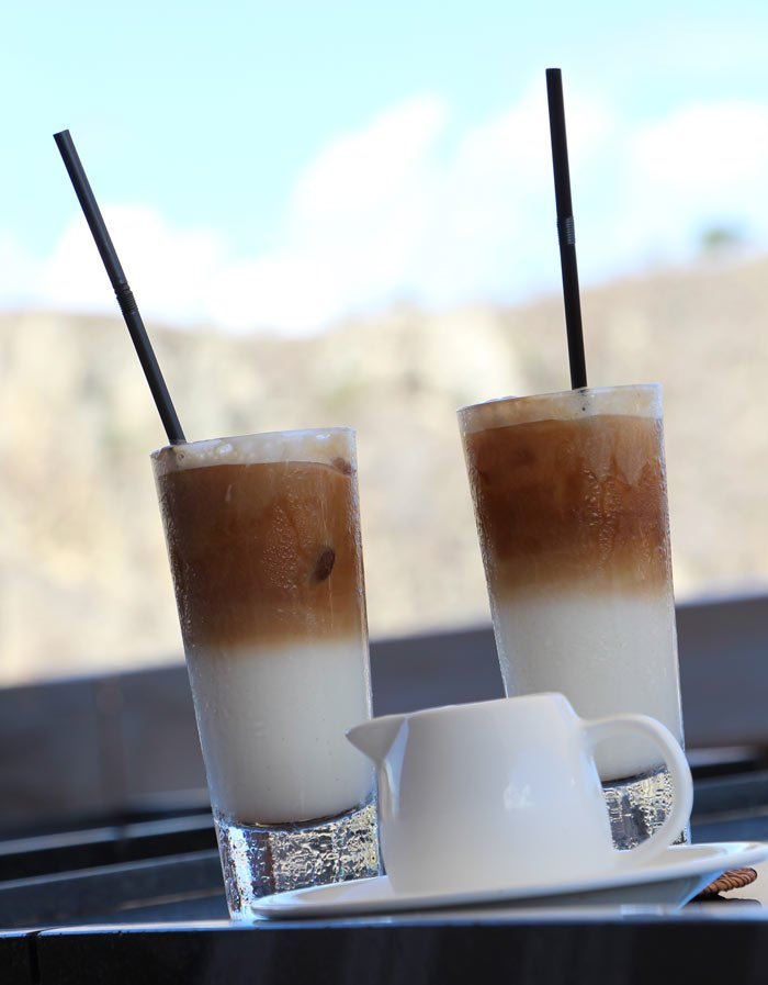 Iced cappuccino quickly becomes our favorite drink on deck aboard the Alila Purnama cruise ship.