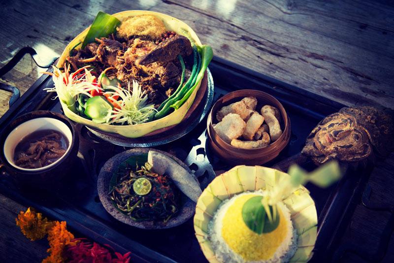 Indonesian food at Hotel Tugu Lombok