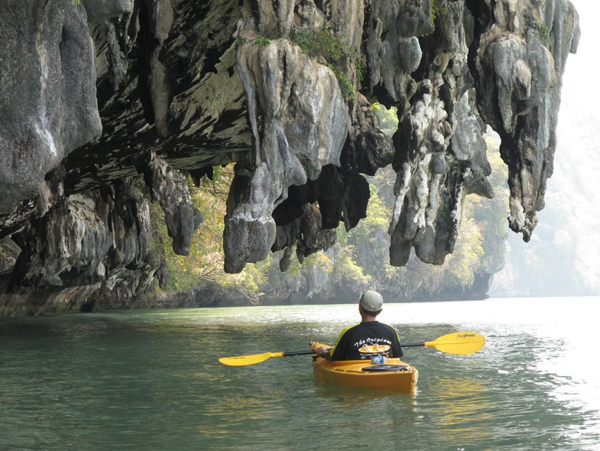 A quiet moment sea kayaking in Phang Nga Bay, Thailand