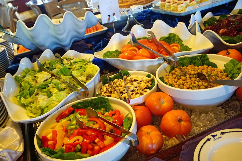 Salads are plentiful for lunch on Star Clippers cruises.