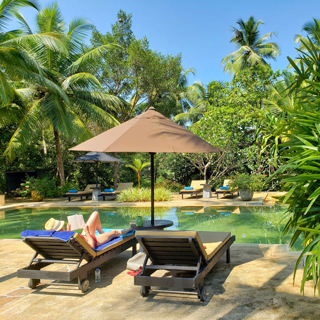 At the Why House, the large pool in the garden is so pleasant you may not want to leave your pool chair!