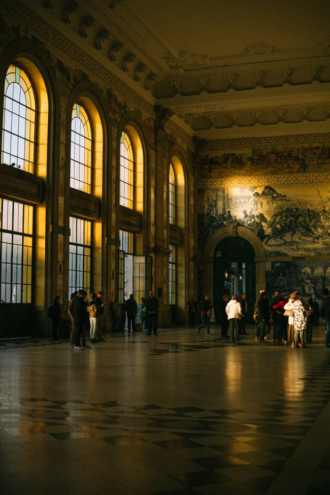 The Sao Bento station tells a great story of Portugal's past - all in a wondrous display of azulejo tiles.