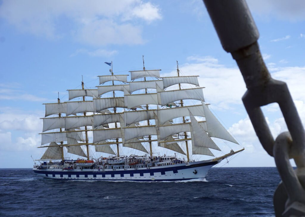 We sailed past the Royal Clipper on our Caribbean cruise