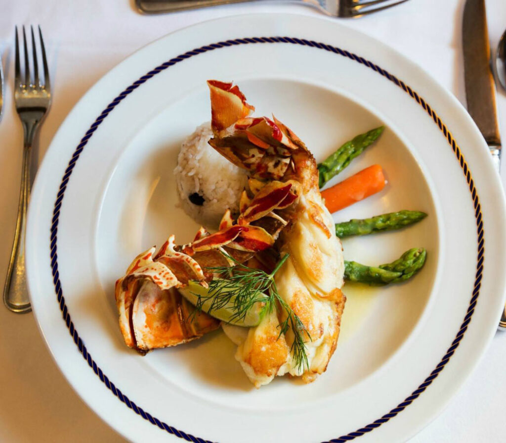 Lobster tail is the most popular entrée at the Captain's dinner.
