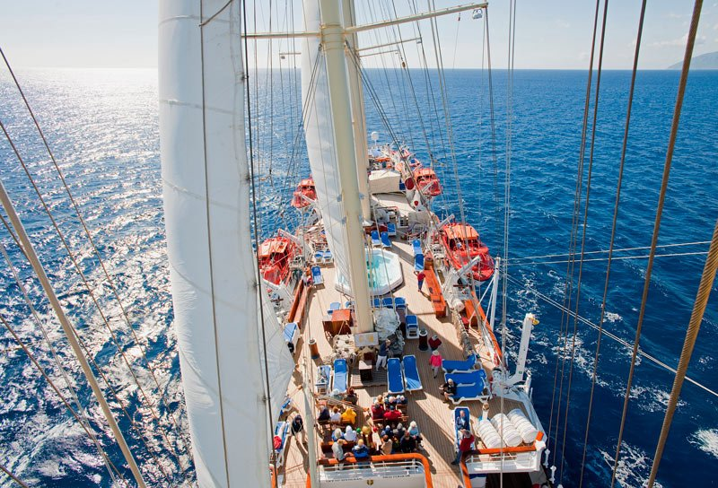 Each Star Clippers ship has two or more small pools.