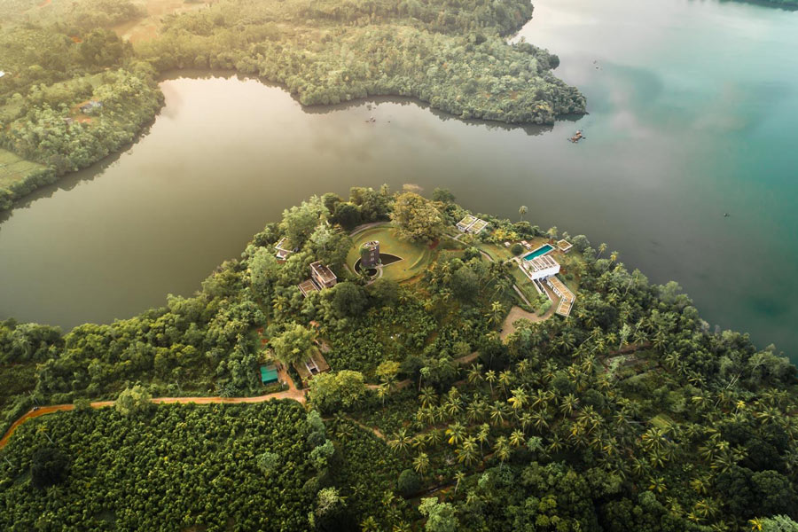 Tri Lanka has no beach. But it's an amazing eco-luxury resort with beautiful lake views, yoga and an excellent restaurant.
