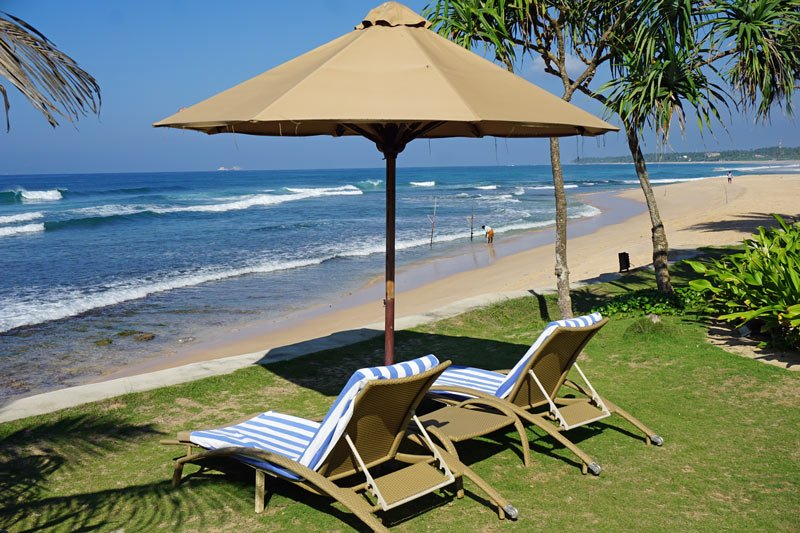 Beach chairs for two at the Fortress Resort & Spa, Sri Lanka