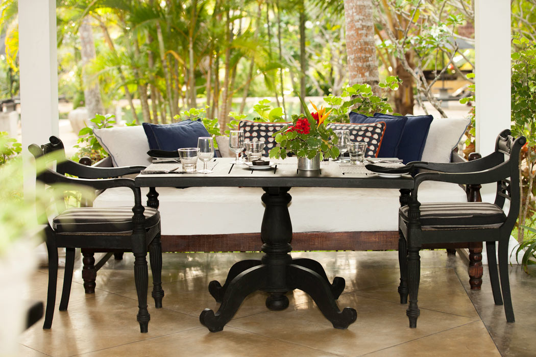 Table with a garden view