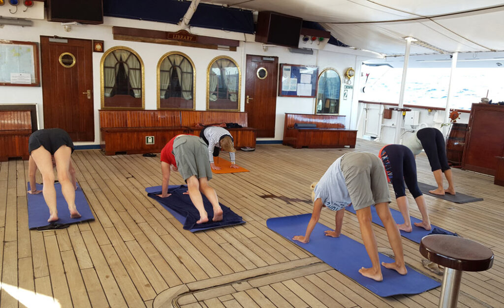 Welcome to early morning yoga on Star Clippers' cruises!